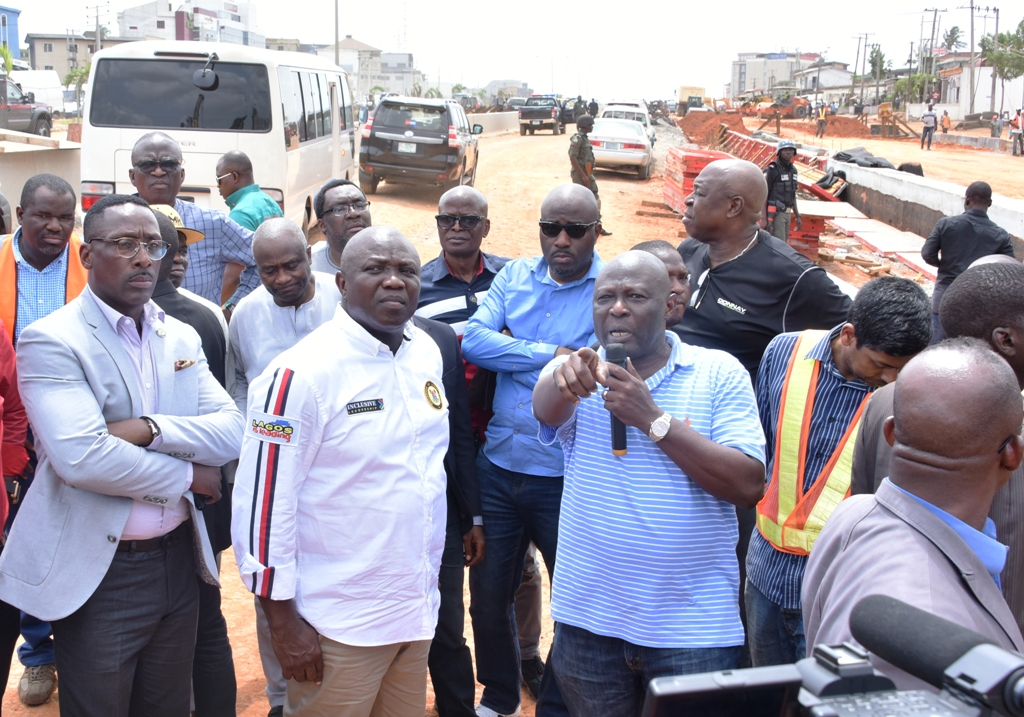 Lagos State Governor, Mr. Akinwunmi Ambode (middle); Commissioner for Works & Infrastructure, Engr. Ade Akinsanya (right); his counterpart for Transportation, Mr. Ladi Lawason (left) during the Governor's inspection of the ongoing construction of the Oshodi-International Airport Road, on Thursday, April 12, 20