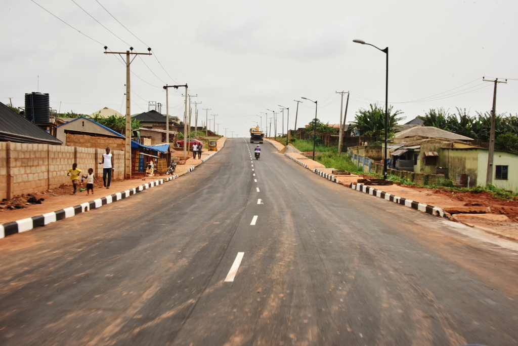 The newly commissioned Ikola Road Road as part of the 21 Lagos-Ogun Boundary Network Roads in Alimosho Local Government by Governor Akinwunmi Ambode, on Monday, April 2, 2018.