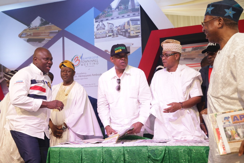 Lagos State Governor, Mr. Akinwunmi Ambode; Commissioner for Information & Strategy, Mr. Kehinde Bamigbetan; Senator Gbenga Ashafa; Deputy Speaker, Lagos State House of Assembly, Hon. Wasiu Eshinlokun Sanni and Party Chietain, Dr. Tola Kasali during the 3rd Quarter 2018 Town Hall meeting (12th in the Series), at the Community Primary School, Iberekodo, Ibeju-Lekki, on Wednesday, July 25, 2018.