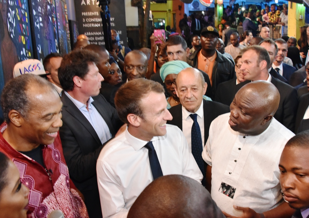 Lagos State Governor, Mr. Akinwunmi Ambode, with President of France, Mr. Emmanuel Macron and Afrobeat musician, Femi Kuti (right) during the celebration of African Culture at the Afrika Shrine, Ikeja, Lagos, on Tuesday, July 3, 2018.