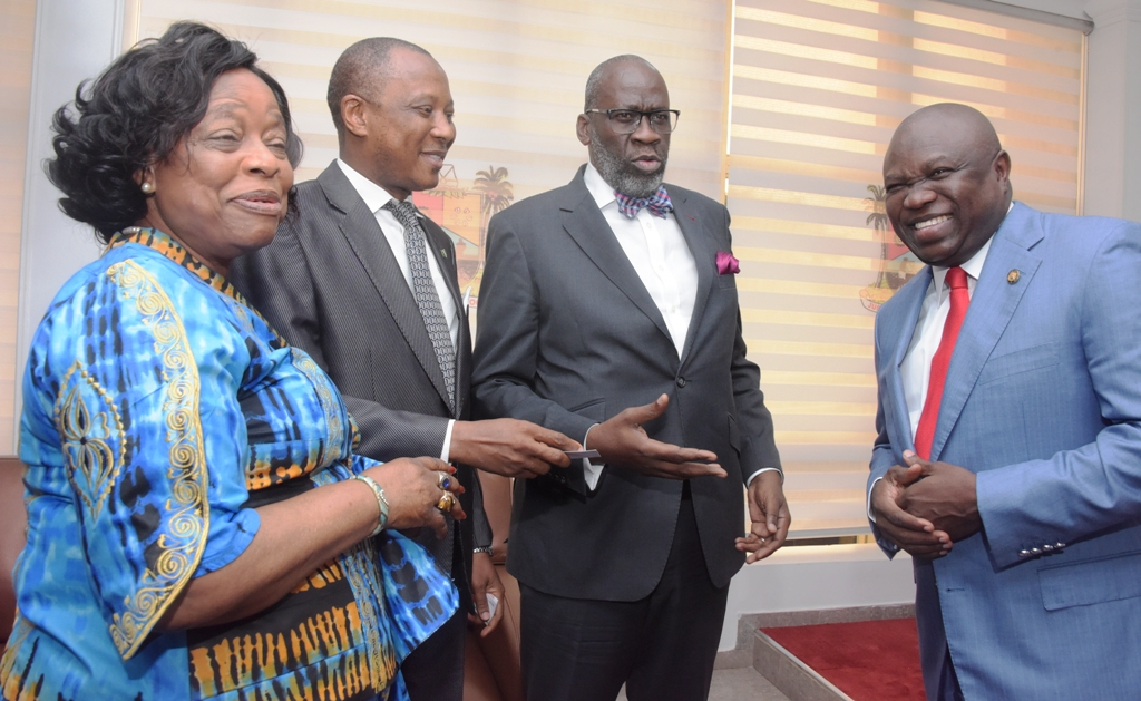 Lagos State Governor, Mr. Akinwunmi Ambode; with members of Governing Council, Institute of Directors (IoD), Mr. Oba Ladega; Mr. Akin Iroko and Natinaol President, Nigerian Association of Chambers of Commerce, Industry, Mines & Agriculture (NACCIMA), Iyalode Alaba Lawason during a courtesy visit to the Governor by the Governing Council of IoD, at Lagos House, Alausa, Ikeja, on Tuesday, September 11, 2018.