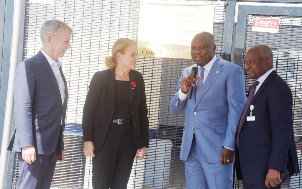 Lagos State Governor, Mr. Akinwunmi Ambode (2nd right), with Governor-General of Canada, Rt. Hon Julie Payette (2nd left); Canadian Parliamentary Secretary for Foreign Affairs, Lt. Gen. Andrew Leslie (left) and Commissioner for Health, Dr. Jide Idris (right) during the commissioning of the Biosecurity Laboratory at the Mainland Hospital, Yaba, Lagos, on Tuesday, October 30, 2018.