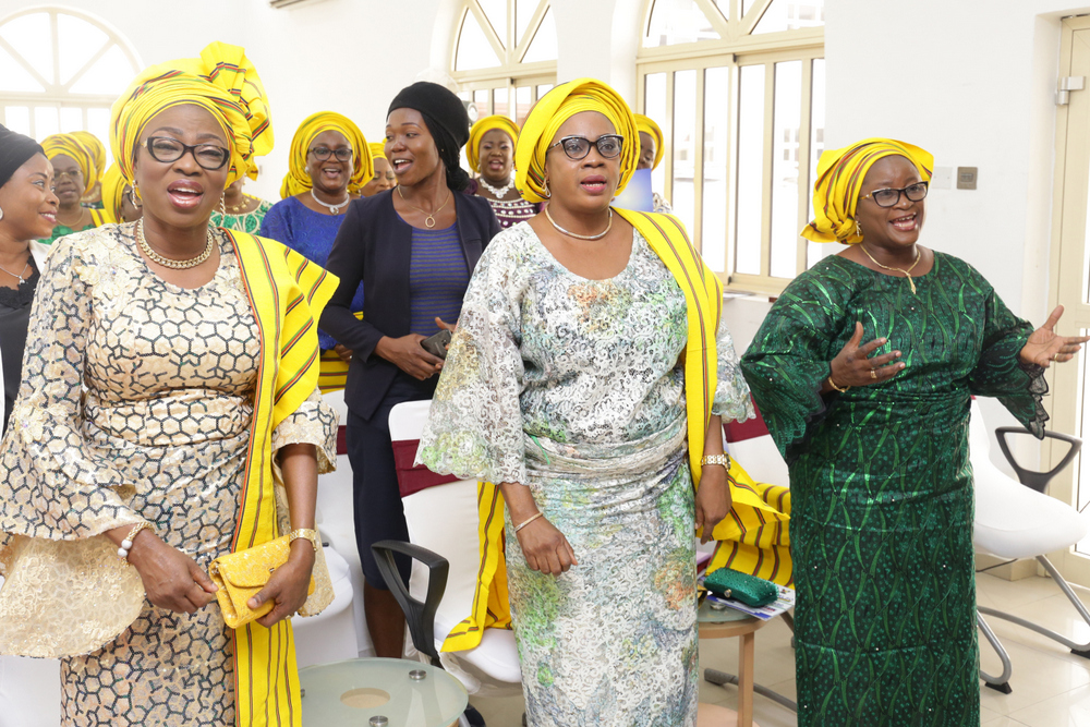 """Wife of the Governor of Lagos State and chairman, Committee of Wives of Lagos State Officials (COWLSO), Mrs Bolanle Ambode (L); Mrs. Funmilayo Ojo (m); and Mrs. Rhoda Ayinde (r), during the Committee's Annual Thanksgiving Service, tagged: """"Celebration of God's Goodness"""", at the State House Chapel, Alausa, Ikeja, on Sunday, 25th November, 2018."""