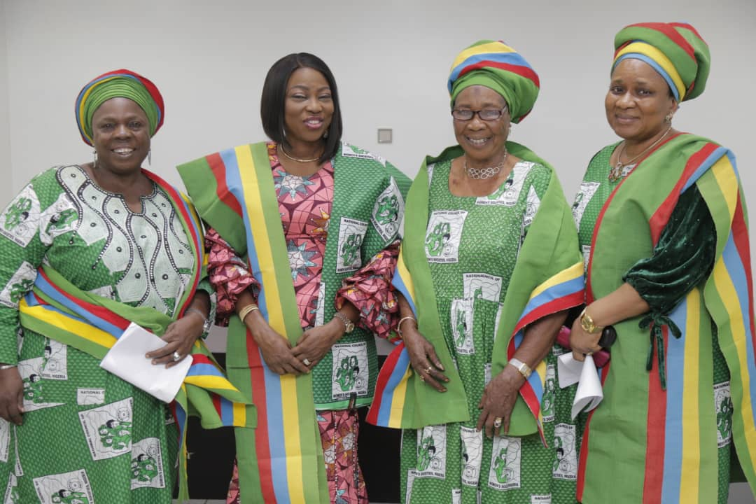 Wife of Lagos State Governor, Mrs. Bolanle Ambode (2nd left); President, National Council of Women's Societies (NCWS), Nigeria, Lagos State Branch, Alhaja Agoro Sikirat (2nd right); members of the council, Dr. (Mrs) Nike Oduwole (right) and Alhaja Memunat Ajao (left) during the investiture of the wife of the Governor as Patron of NCWS Lagos State, at the weekend, at Lagos House, Alausa, Ikeja.