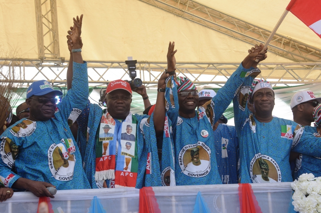 Lagos State Governor, Mr. Akinwunmi Ambode (2nd left); All Progressives Congress (APC) Governorship Candidate in Lagos, Mr, Babajide Sanwo-Olu (2nd right); his running mate, Dr. Obafemi Hamzat (right) and Chairman, APC Lagos, Alhaji Tunde Balogun (left) during the Flag Off Campaign of the Lagos APC at the Skypower Ground, G.R.A, Ikeja, on Tuesday, January 8, 2019.