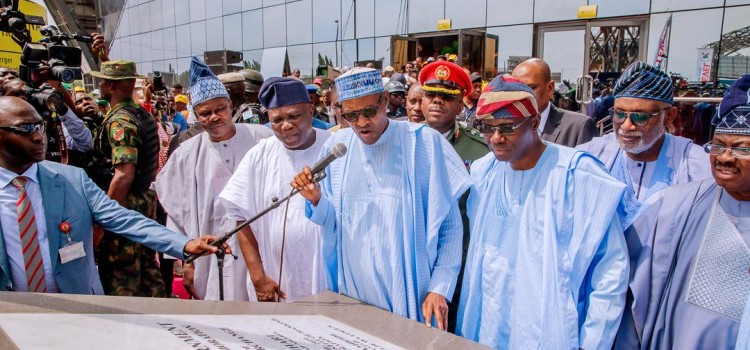 President Buhari Unveils Airport Road, Oshodi Transport Interchange, 820 Buses