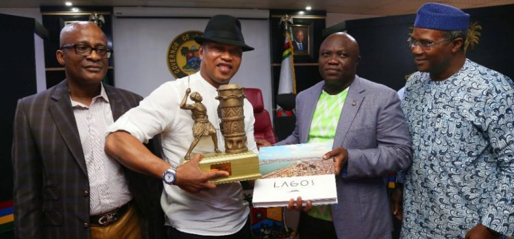 Governor Akinwunmi Ambode Receives Diouf, Kanu Nwankwo, Finidi George, Zokora, Other Soccer Legends
